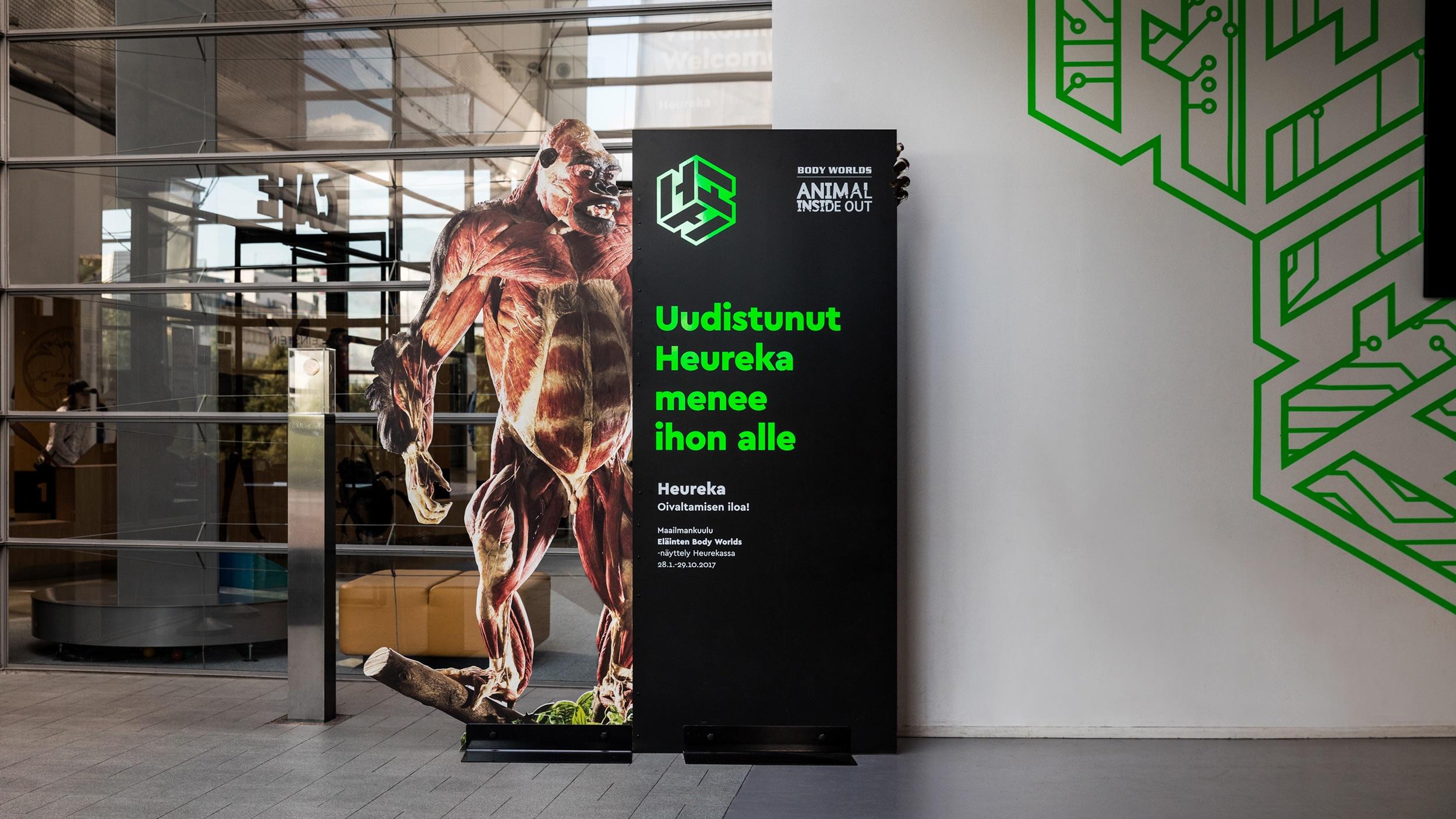 Brändistrategia toimi hyvin Heurekan esillepaneman Eläinten Body Worlds -näyttelyn kanssa.