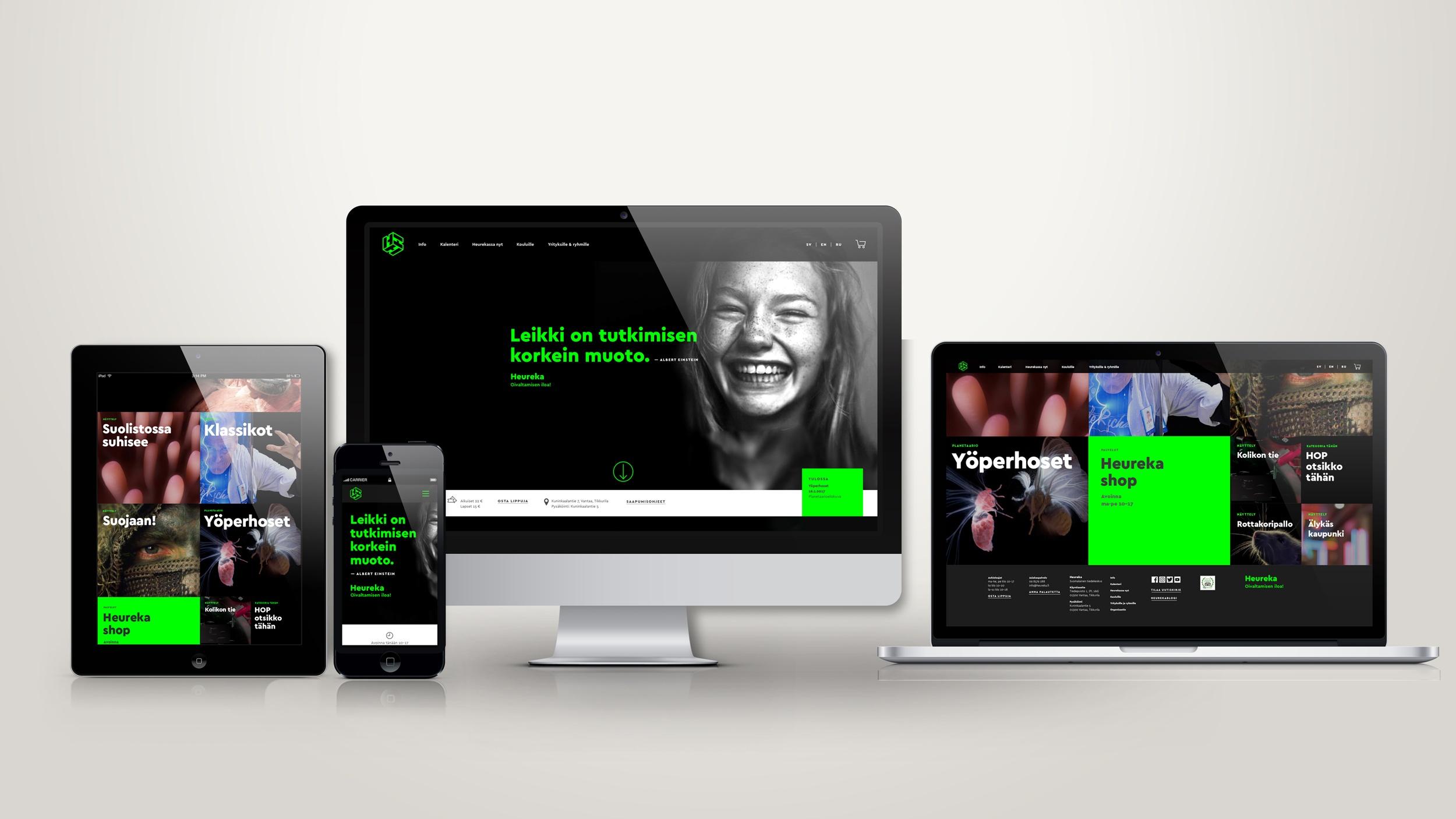 Brändistrategiaan kuuluivat Heurekan nettisivut, joiden ilme suunniteltiin toimimaan eri laitteilla.