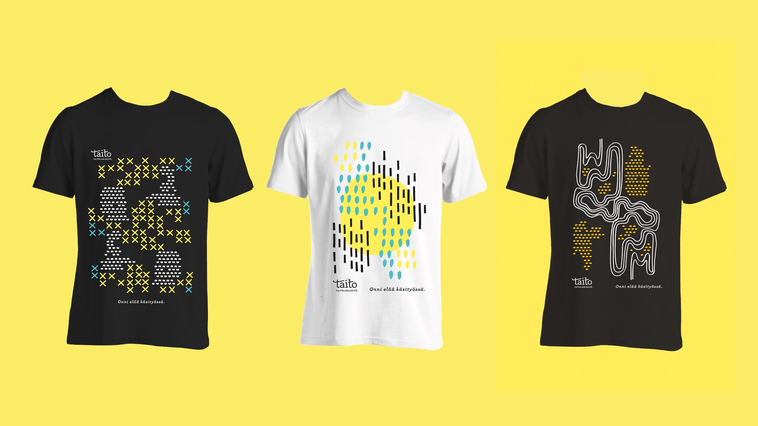 Taitoliiton paitojen visuaalinen suunnittelu