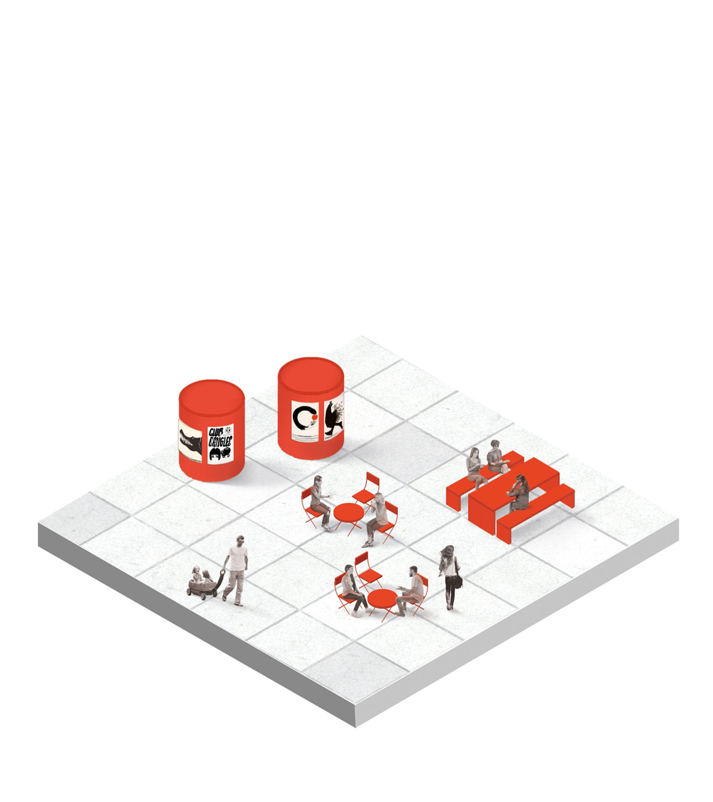 Amfin arkkitehtuurisuunnittelu ehdottaa rentoja kohtaamispaikkoja ihmisille.