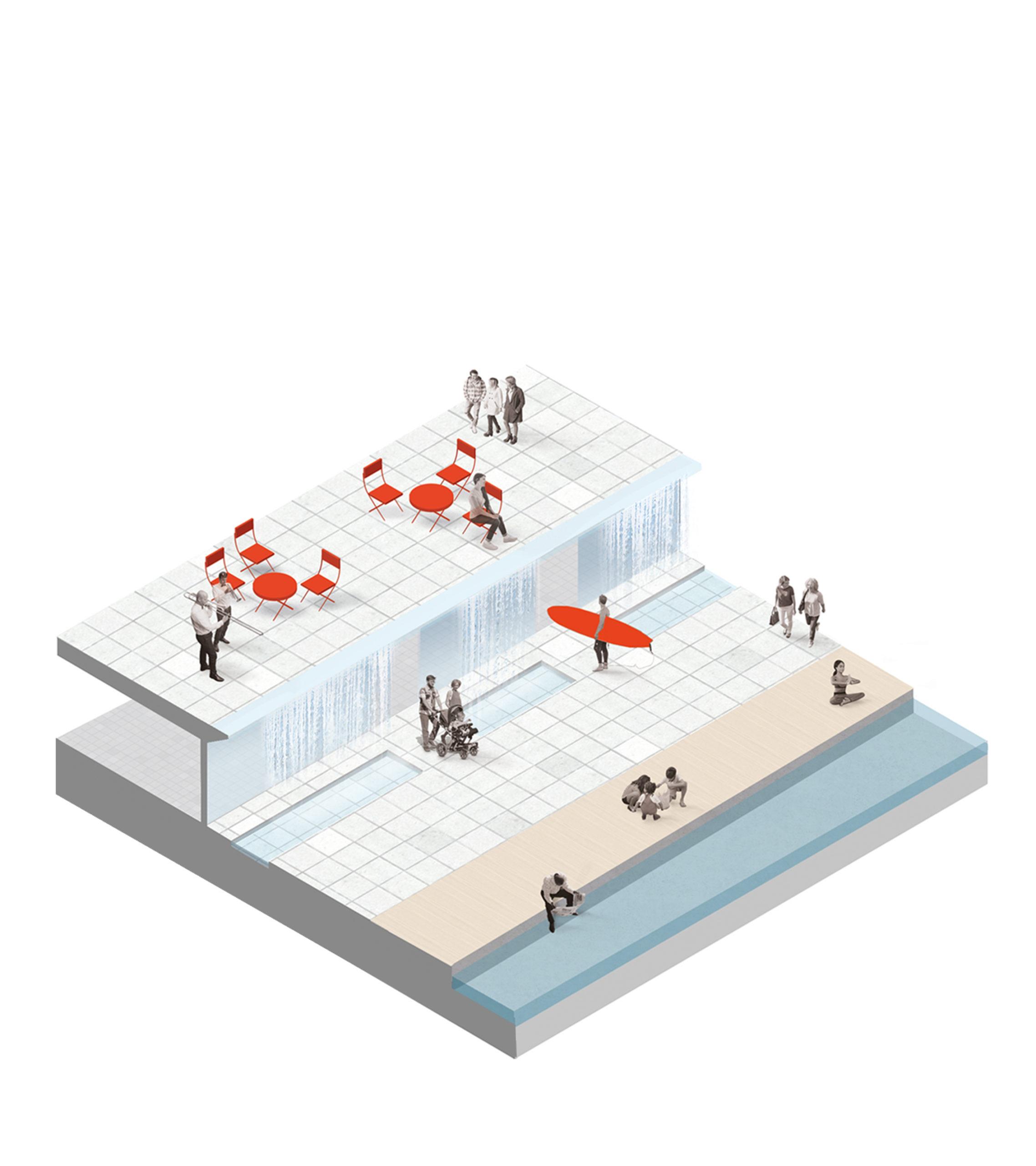Amfin arkkitehtuurisuunnittelu sisältää rauhaisan vesielementin.