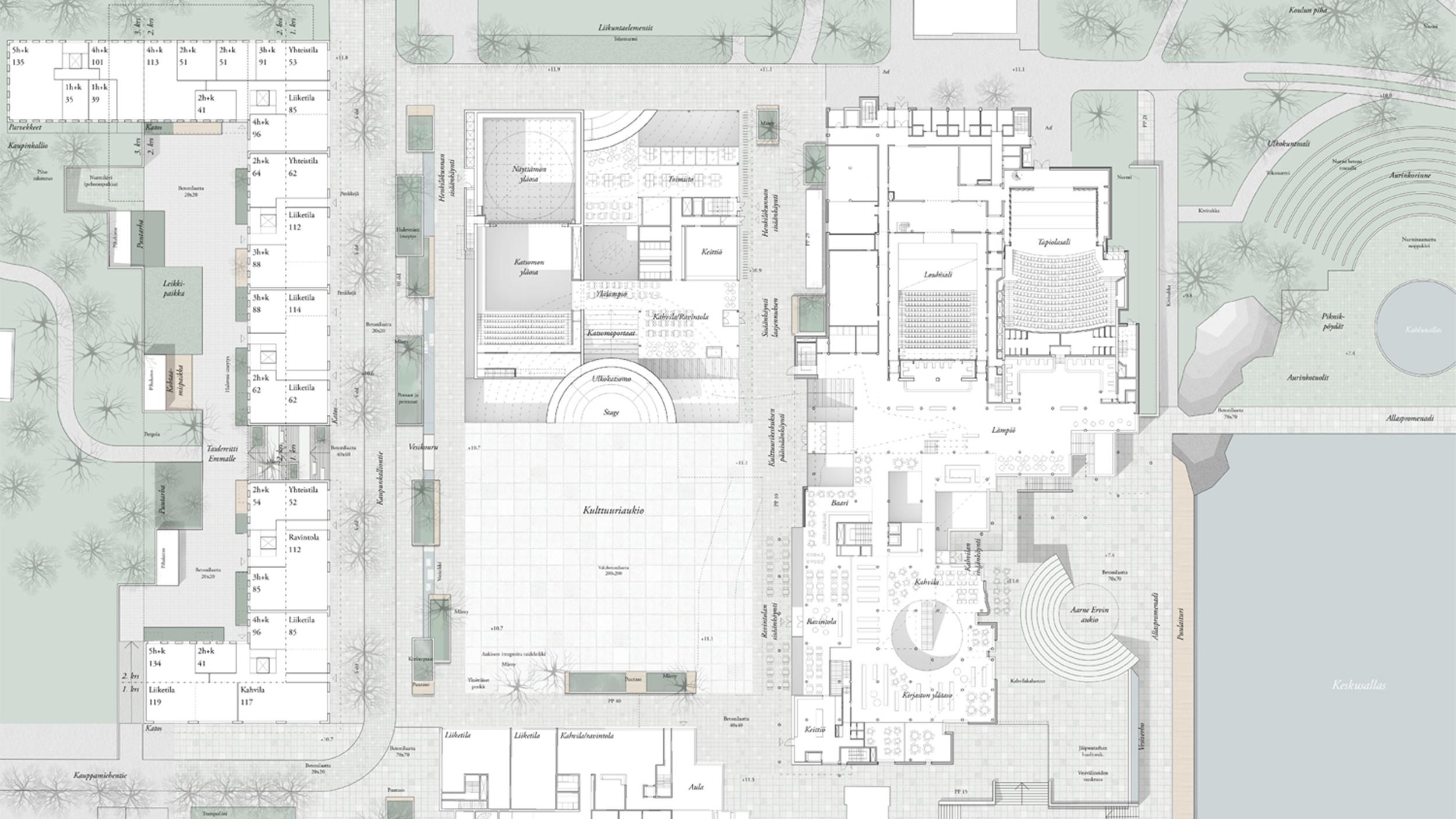 Kartta, jossa Amfi-kilpailuehdotuksen arkkitehtuurisuunnittelu näkyy.