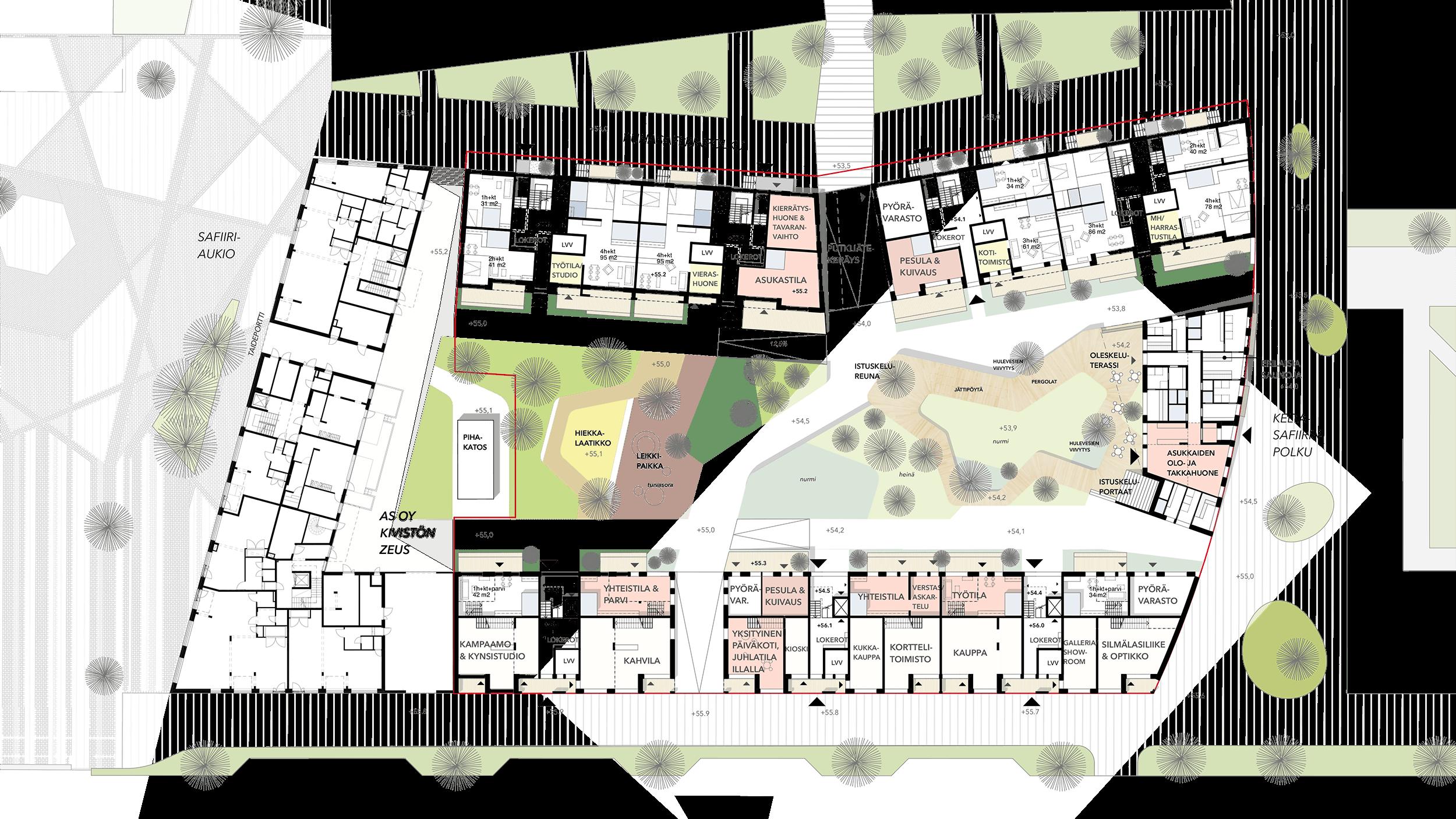 Yhteispihan taide-ehdotuksen Piirin kartta