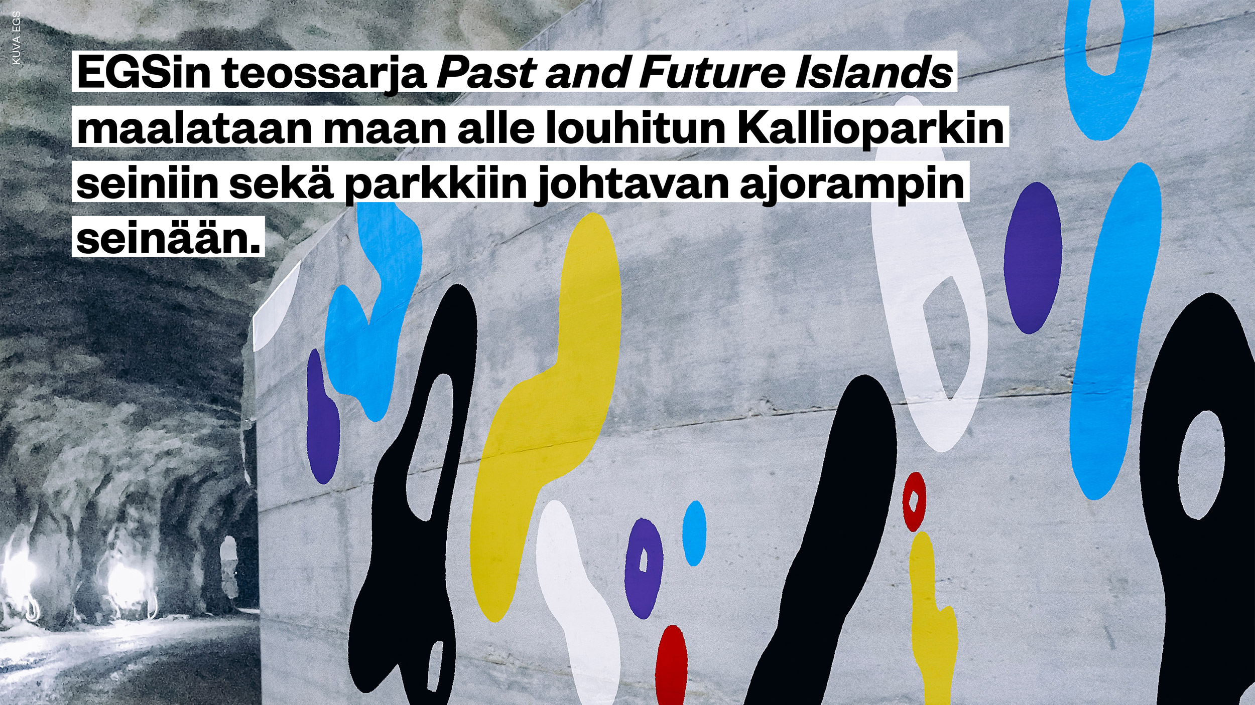 Kallioparkin seinässä oleva taideteos Past and Future Islands