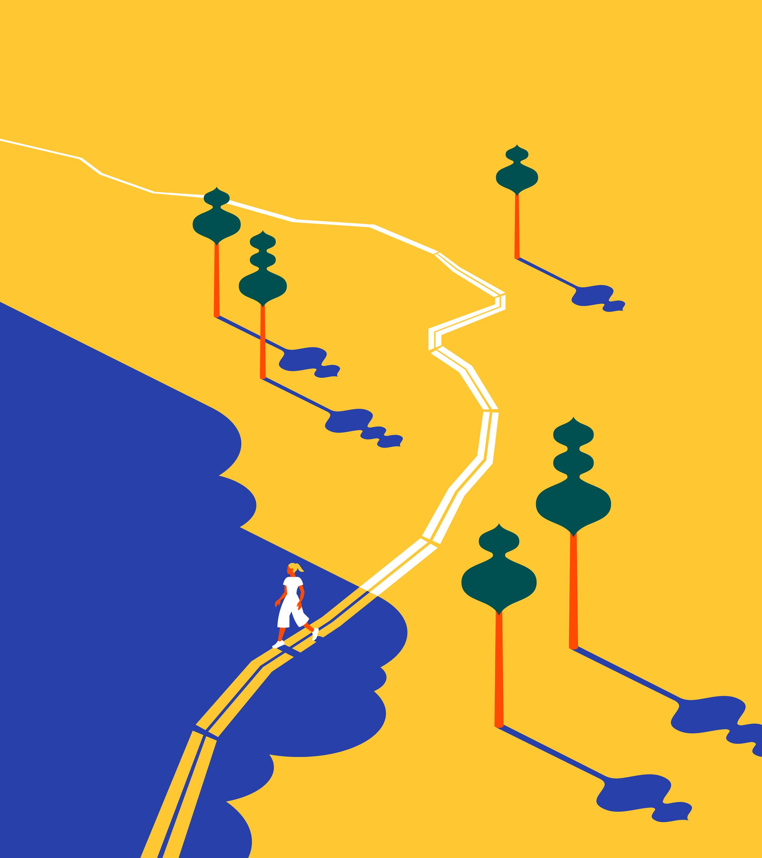 Suomalaista luontoa esittävä brändikuvitus
