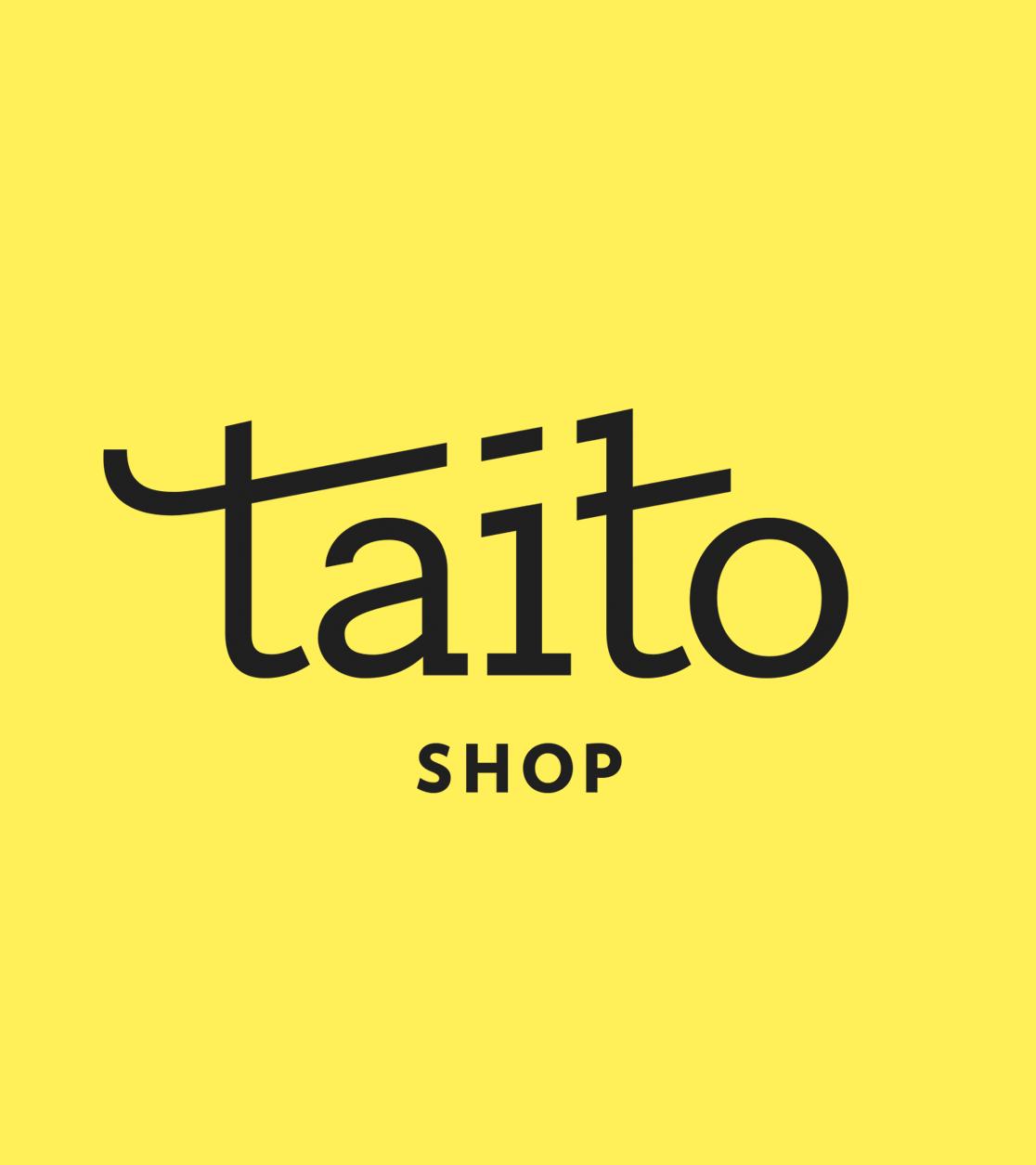 Taito Shopin logon visuaalinen suunnittelu