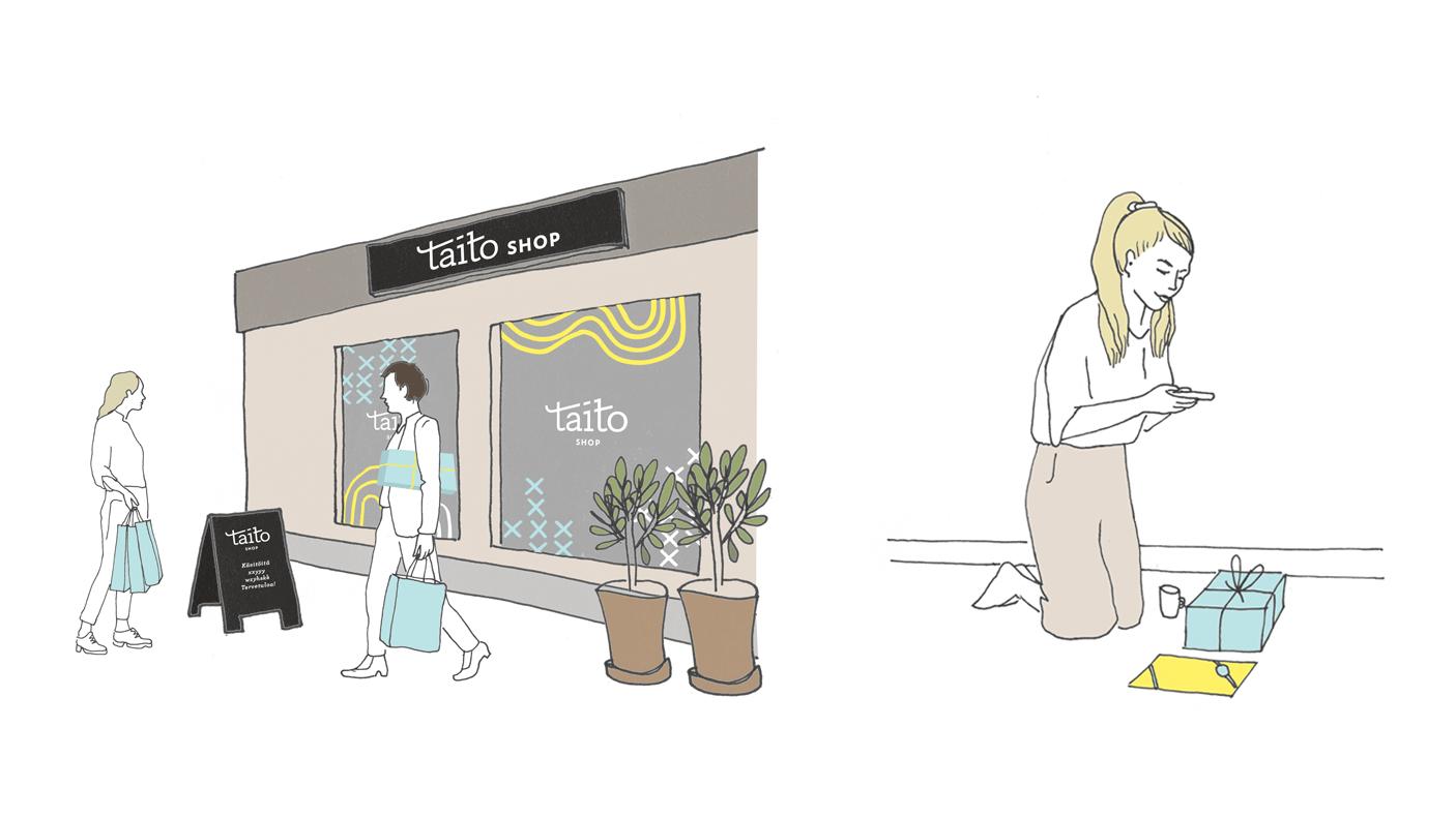 Taito Shopin visuaalinen suunnittelu asiakkaiden koettavana