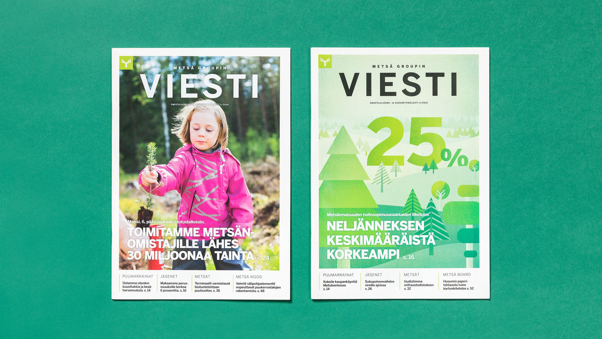 Lehtiuudistus näkyvissä Metsä Groupin Viesti-lehden kansien ilmeessä.