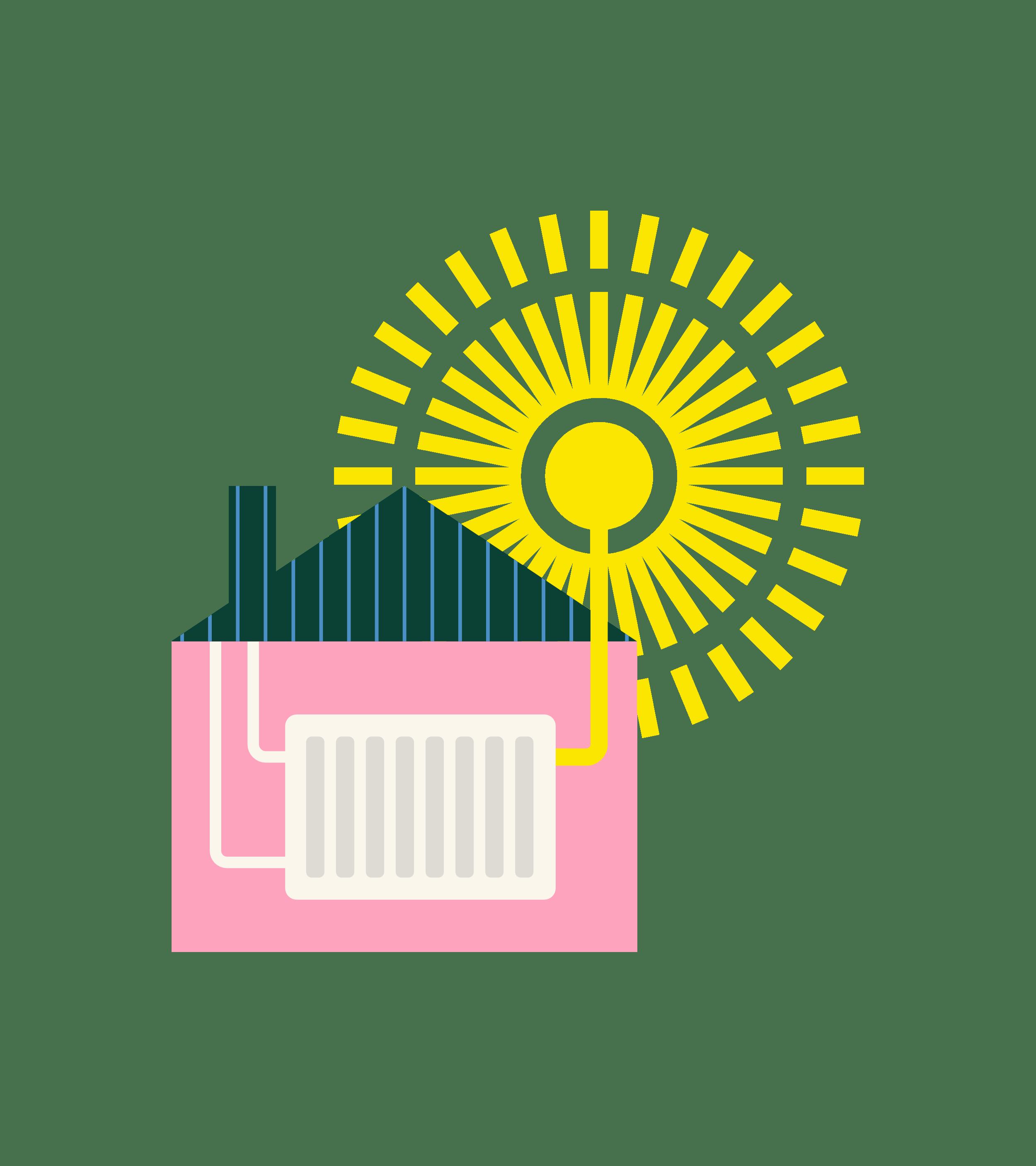 Kuvitus aurinkoenergian hyödyntämisestä asumisessa
