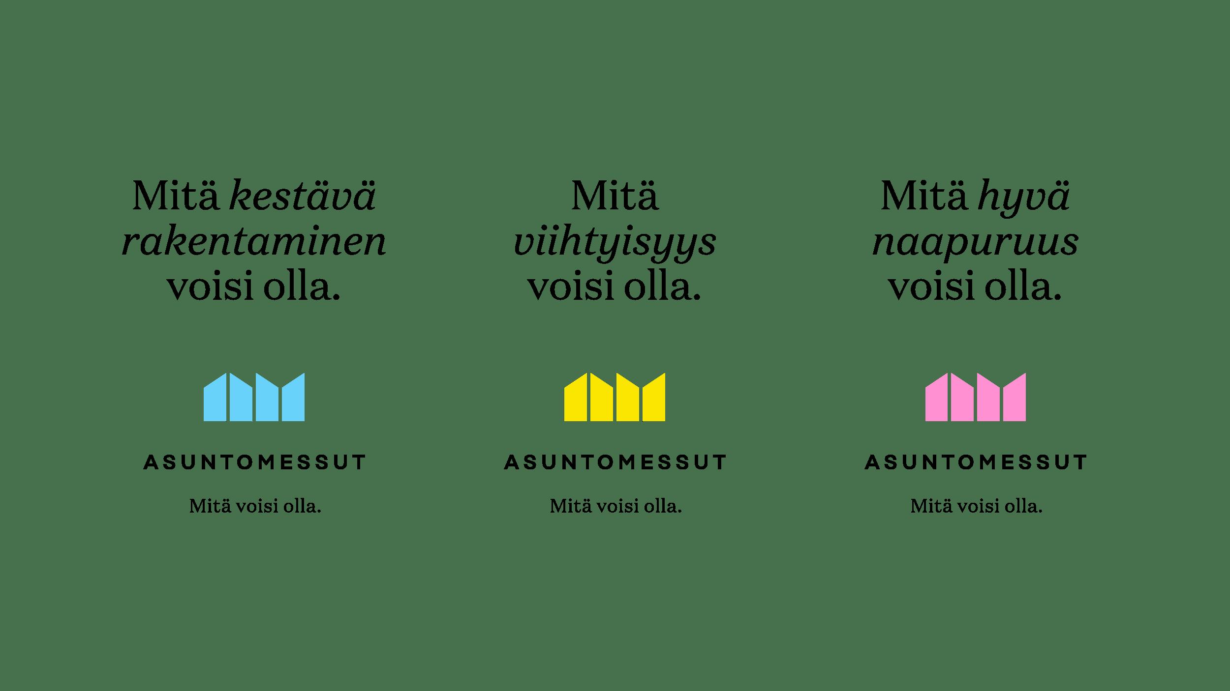 Asuntomessujen tunnus ja sloganin variaatioita