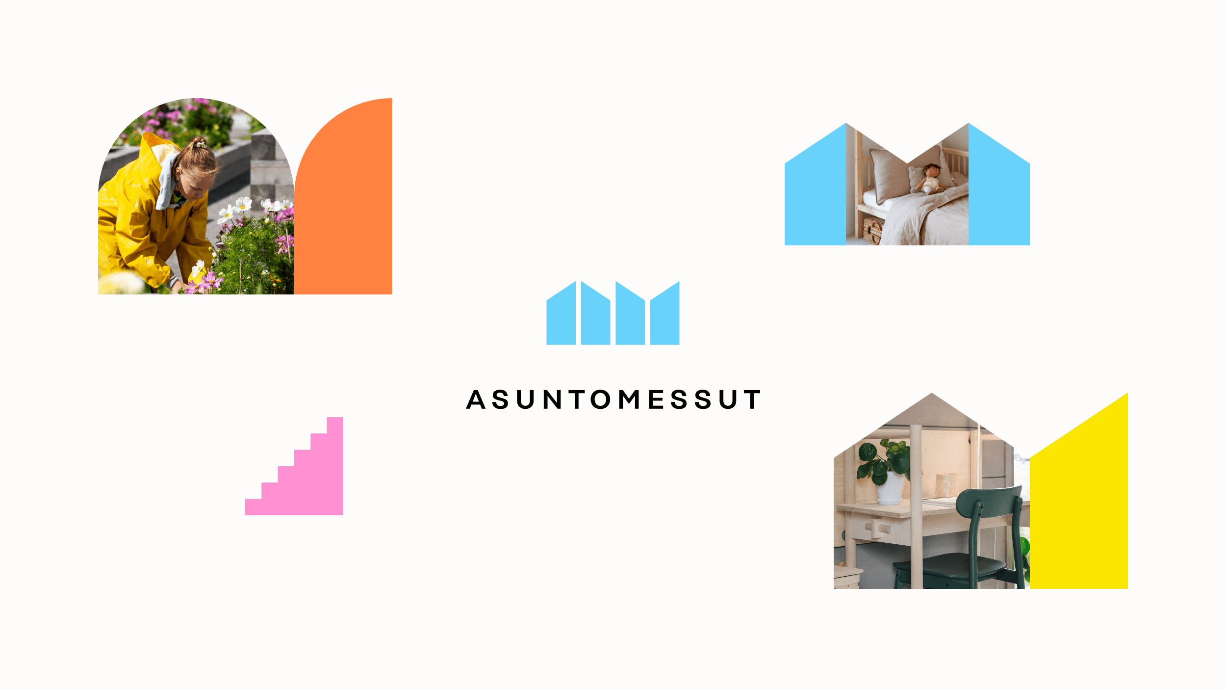 Asuntomessujen logo ja visuaalisen ilmeen värikkäät ikkunat