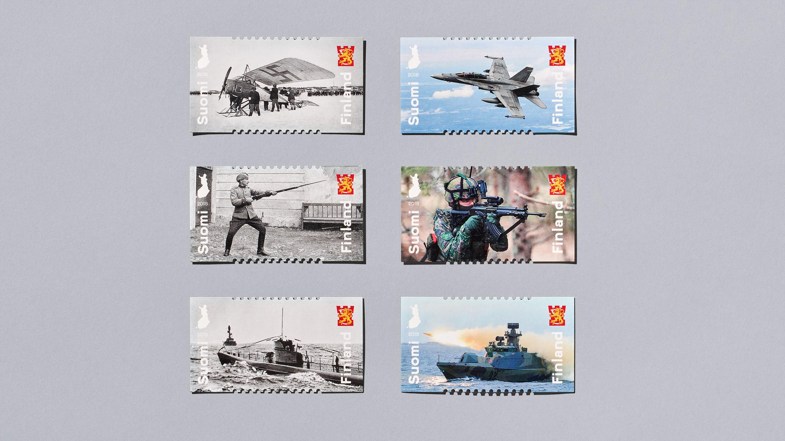 Postimerkki kuvaa Puolustusvoimien historiaa ja nykypäivää.